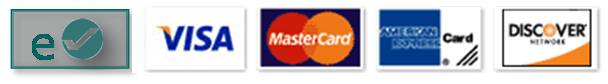 We accept Visa, Mastercard, Echecks, American Express and Discover